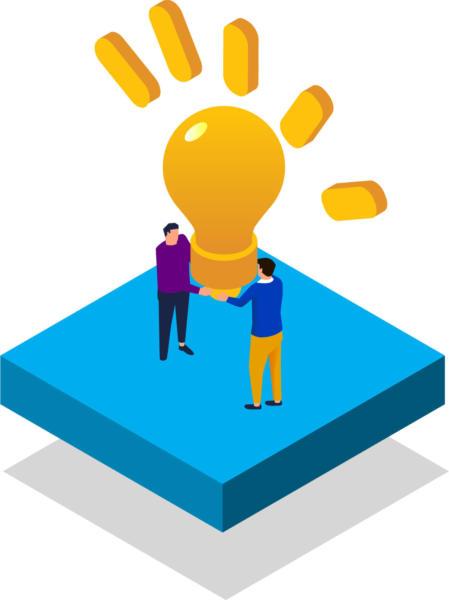 illustration of two people holding lightbulb