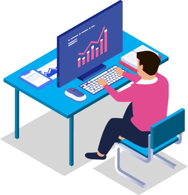Illustration of man at desk