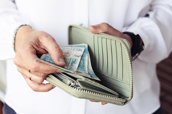 Looking through wallet